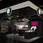 Messe-Konzept Messe-Design Corporate-Design alveus premium-teas edel in Schwarz mit Akzenten in Eiche Weiß und Grün Tee Ausschank Tresen und Serienproduktionen Tee-Displays und Tee-Verkaufs-Regalen Low-Budget design von Lange Architekten für alveus Biofach